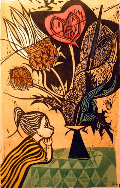 Irving Amen, Girl with Flowers, n.d., woodcut on paper.