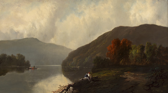 Franklin Dullin Briscoe, Lake Scene with Figures, n.d., oil on canvas.