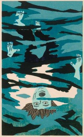 Richard Bosman, Drowning Man, 1981, woodcut on paper.