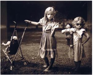 Sally Mann, The New Mothers,1989, gelatin silver print on paper.